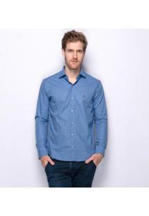 Camisa Social Manga Longa Teodoro Bryan Algodão Masculina - Masculino-Azul