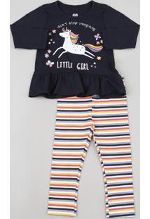 Conjunto Infantil De Blusa Unicórnio Manga Longa Azul Marinho + Calça Legging Listrada Multicor