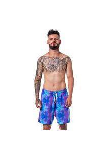 Bermuda Adaption Praia Tie Dye Com Bolso Frontal Azul