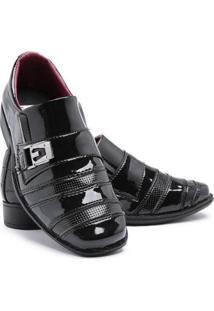 Sapato Social Infantil Menino Verniz Textura Conforto Festa - Masculino-Preto