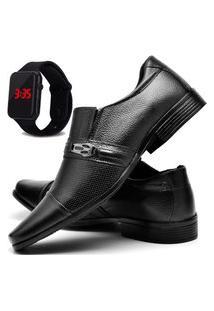 Sapato Social Masculino Asgard Com Relógio Led Db 710Lbm Preto