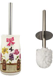 Porta Escova Sanitária Em Porcelana Fresh Beautiful Flores 1 Peça - Amigold