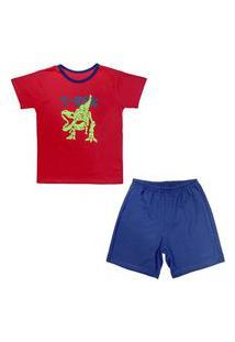 Pijama Juvenil Look Jeans Dino Curto Vermelho