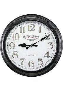 Relógio De Parede Ellicott Smith Preto Em Metal - 45,5X9 Cm