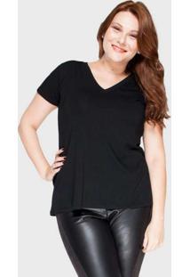 Camiseta Decote V Evasê Plus Size Preto Preto