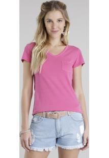 Blusa Básica Com Bolso Rosa Escuro