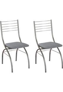 Conjunto Com 2 Cadeiras Devon Cinza E Cromado