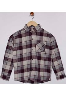 Camisa Xadrez Manga Longa Juvenil Para Menino - Bege/Vinho