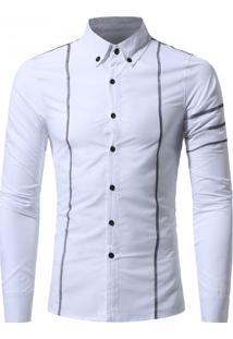 Camisa Masculina Slim Costura Manga Longa - Branco Xg