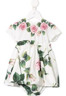 Dolce & Gabbana Kids Vestido Evasê Com Estampa De Rosa - Estampado
