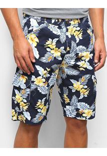 Bermuda Jeans Ecxo Estampa Floral Masculina - Masculino-Azul
