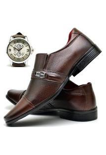 Sapato Social Masculino Asgard Com Relógio New Db 710Lbm Marrom