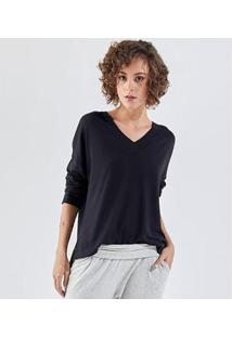 Camiseta Liz Easywear Manga Longa Feminino - Feminino-Preto