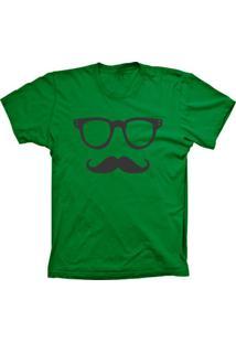 Camiseta Baby Look Lu Geek Mustache Verde
