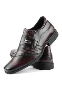 Sapato Social Perfuros Com Metal Dhl Masculino Vinho