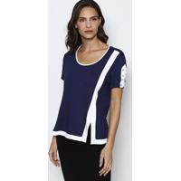 ebd2dc5c9 Blusa Com Fenda- Azul Marinho   Branca- Dress Todayênfase