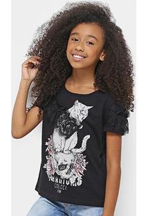 Camiseta Infantil Colcci Estampada Com Renda Feminina - Feminino-Preto