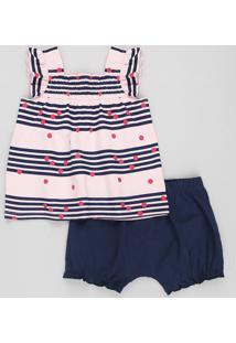 Conjunto Infantil De Regata Listrada Rosa + Short Balonê Azul Marinho