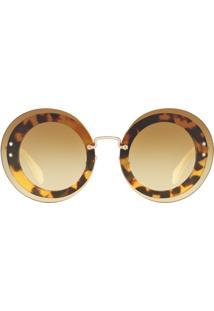 Miu Miu Eyewear Óculos De Sol Arredondado - Brown
