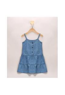 Vestido Jeans Infantil Amplo Com Recortes Alça Fina Azul Médio