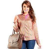 908e5c2dec Camisa Feminina Slim Estampa Colorida Carlos Brusman