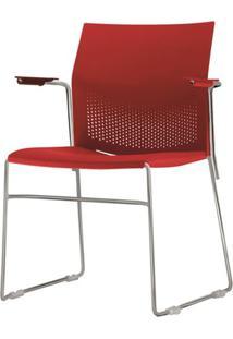 Cadeira Connect Com Braco Assento Vermelho Base Fixa Cromada - 53792 - Sun House