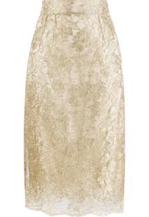 Dolce & Gabbana Saia Com Renda Brocada - Dourado