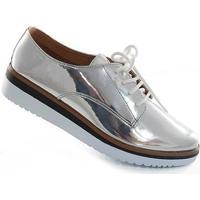 568db2da1f Oxford Sapato Show Metalizado - Feminino-Prata