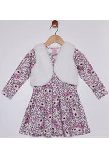 Vestido Com Colete Infantil Para Menina - Branco