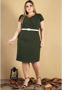 Vestido Com Cinto Donna Peck Inverno Verde