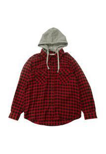 Camisa Xadrez Infantil Com Bolso Masculina Vermelha