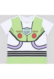 Camiseta Infantil Buzz Lightyear Manga Curta Branca
