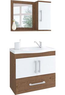 Conjunto De Banheiro Atenas Amêndoa E Branco