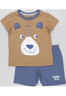 Pijama Infantil Urso Manga Curta Caramelo
