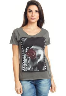 Camiseta Bossa Brasil Rosa Photo Preto Estonado