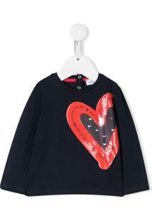 Emporio Armani Kids Blusa Com Estampa De Coração - Azul
