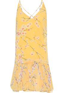 Vestido Saia Plissada Cerejeira - Amarelo