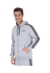 Jaqueta De Moletom Com Capuz Adidas 3S Fz French Terry - Masculina - Cinza Claro