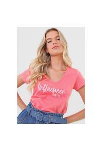 Camiseta Malwee Lettering Rosa