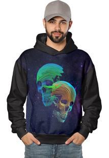 Casaco De Moletom Skull Galaxy Neon Color
