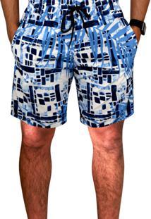 Bermuda Prais Ks Tactel Estampa Verão C/ Bolsos Laterais Ref.0394.8 Azul
