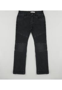 Calça Jeans Infantil Com Recorte Preta