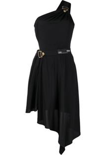 Versace Jeans Couture Vestido Com Recortes Vazados - Preto