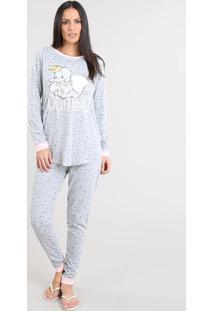 Pijama Feminino Dumbo Estampado Manga Longa Cinza Mescla