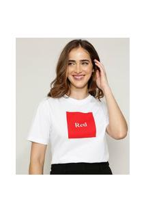 "T-Shirt Feminina Mindset ""Red"" Manga Curta Decote Redondo Branca"