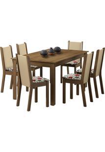 Sala De Jantar Madesa Tauany E 6 Cadeiras Marrom - Marrom - Dafiti