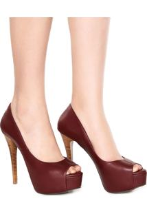 Peep Toe Dafiti Shoes Salto Alto Vinho