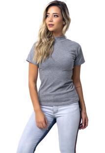 Camiseta Rb Moda Gola Alta Cinza Ref: 053 - Tricae