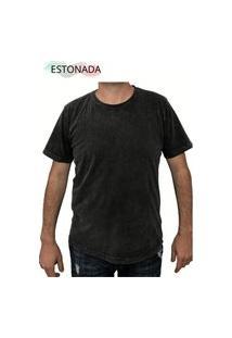 Camiseta Malha Algodao Estonada (Lavação) Preto