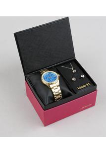 d6d8a673717 Kit De Relógio Analógico Lince Feminino + Brinco + Colar - Lrgj059L  Ku31D1Kx Dourado - Único